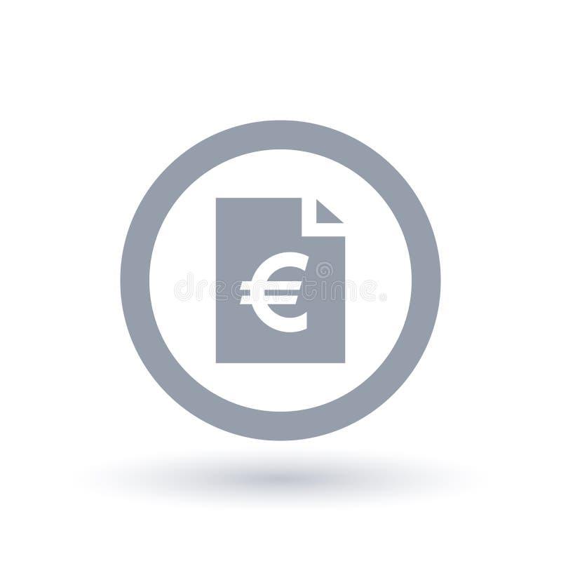 Paper Euro bill icon - European money document symbol vector illustration