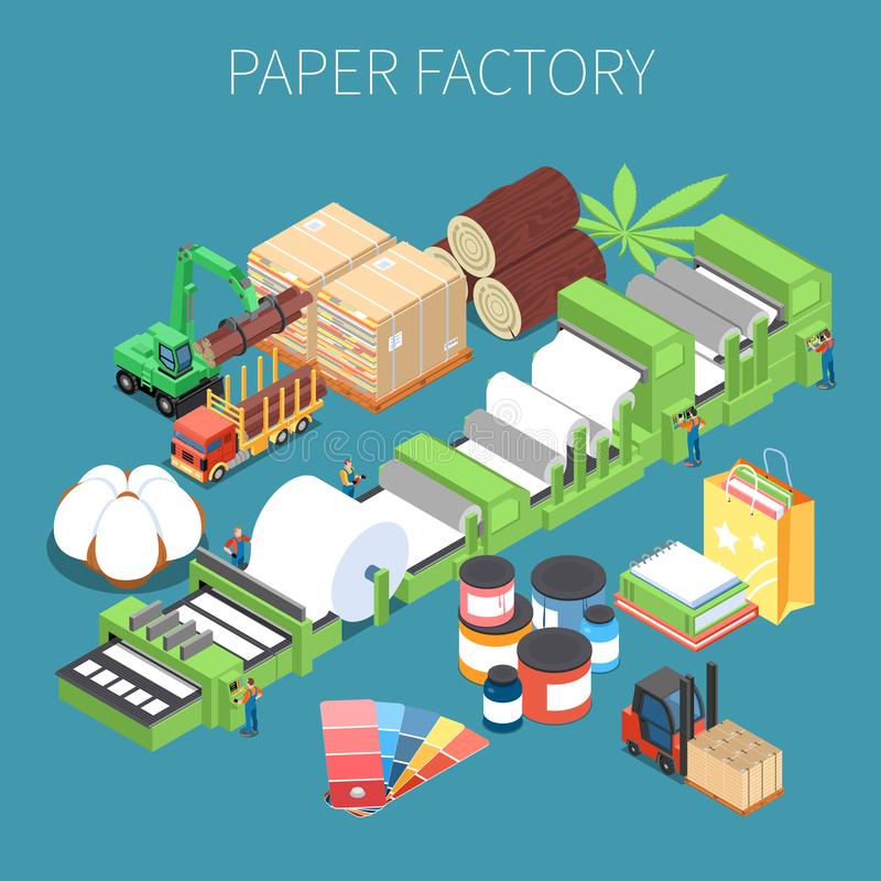 Paper Factory Isometric Background vector illustration