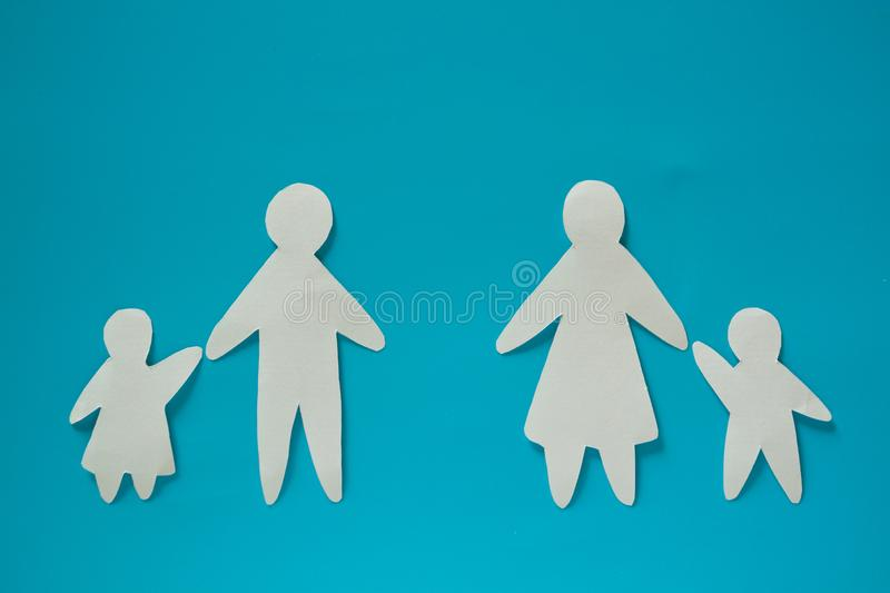 Paper family couple with childrent royalty free stock image