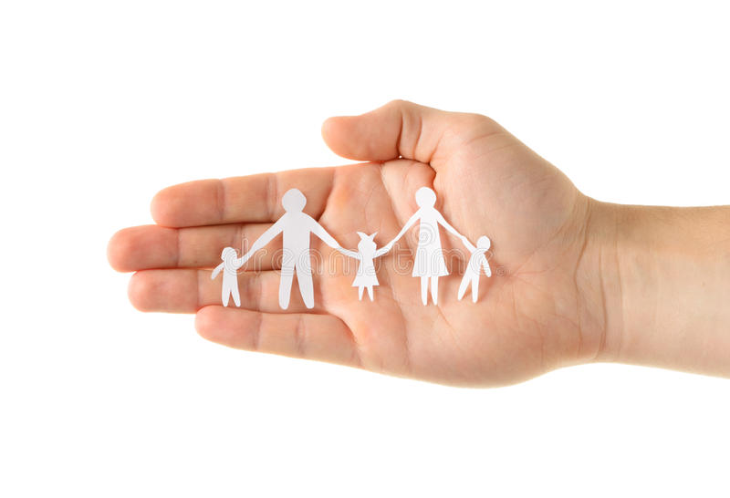 Paper family in hand royalty free stock photos