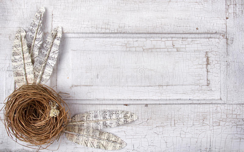 Paper feathers and nest on antique panel stock image