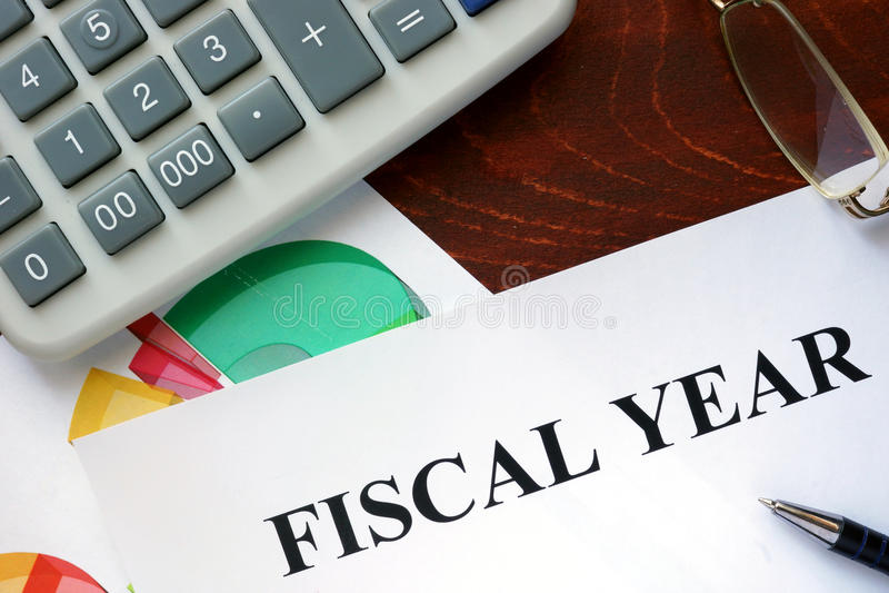 Paper with Fiscal year . Paper with Fiscal year and charts stock image