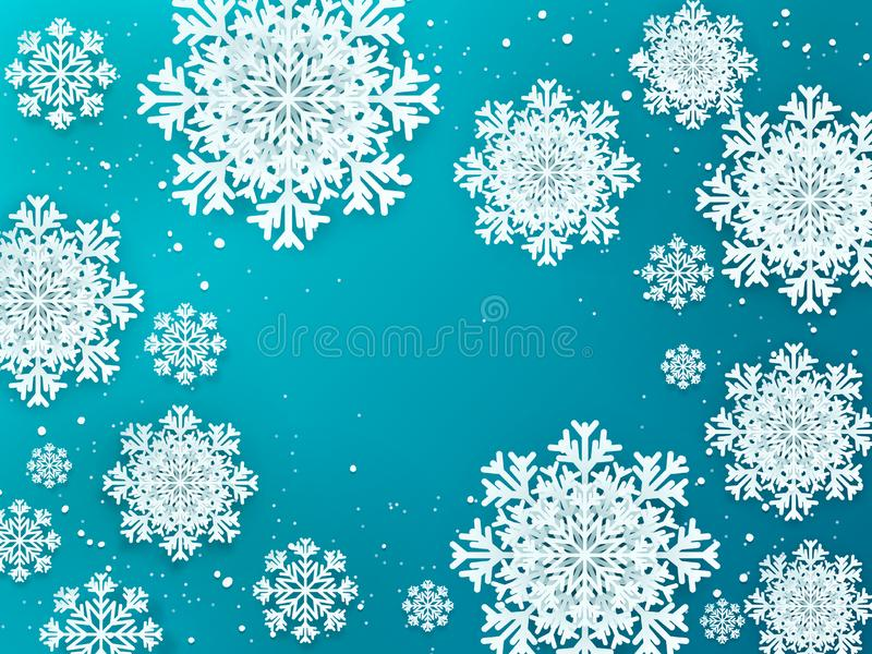Paper flakes background. Christmas 3D winter poster with snow decoration elements. Vector design template for greeting royalty free illustration