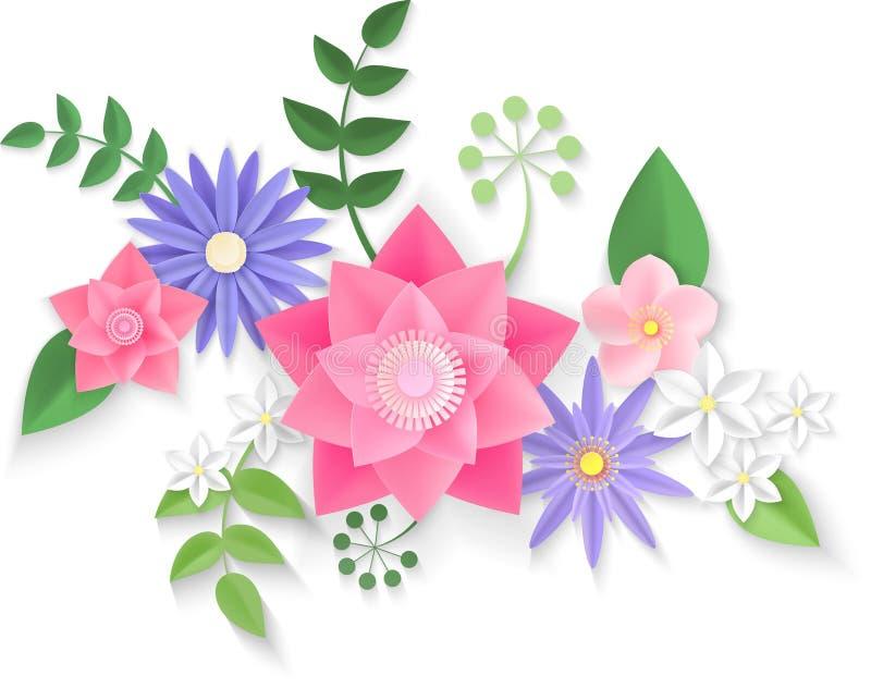 Paper flowers. Background. Vector illustration royalty free illustration