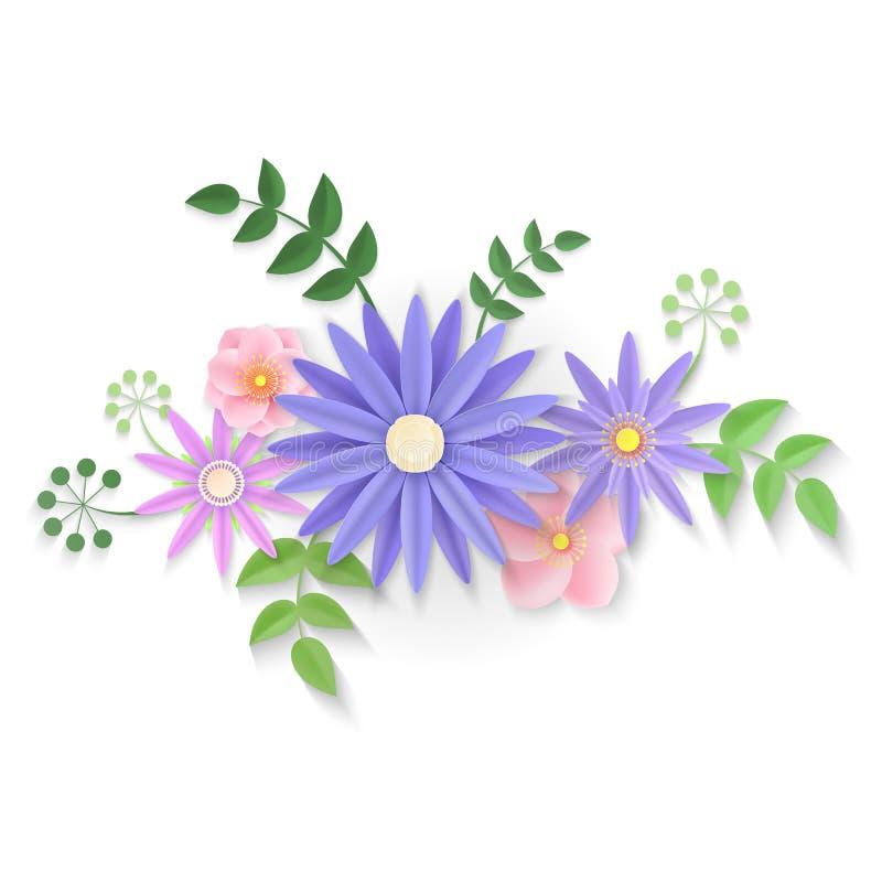 Paper flowers. Background. Vector illustration stock illustration