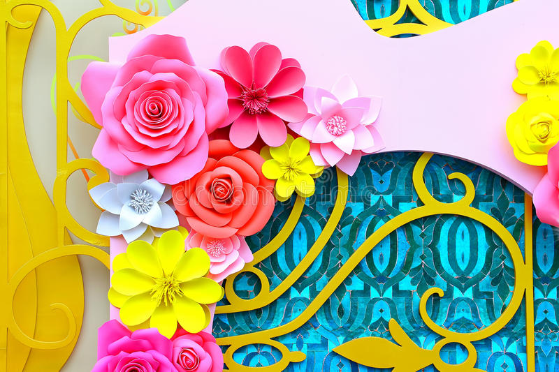 Paper flowers decoration background stock photography