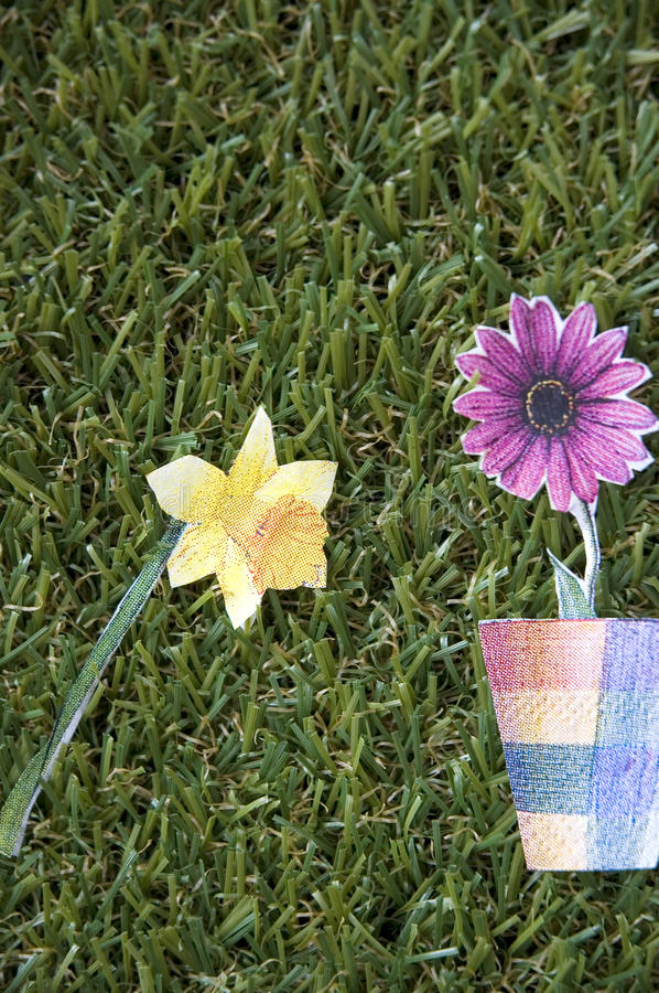 Download Paper flowers stock photo. Image of grass, green, drawing - 34355314