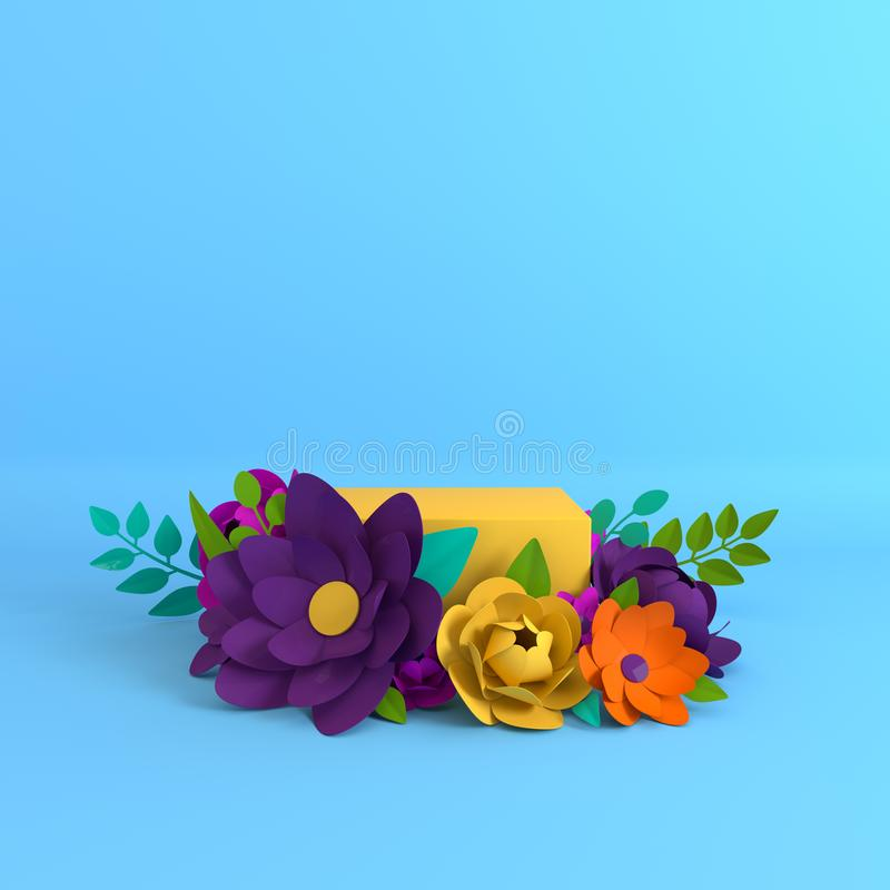 Paper flowers and leaves frame, podium platform for product presentation. Summer or spring colorful background. Paper cut 3d. Render mock up royalty free stock photos
