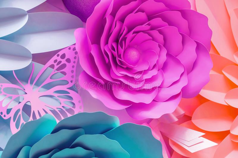 Paper flowers made from cut cardboard. stock image