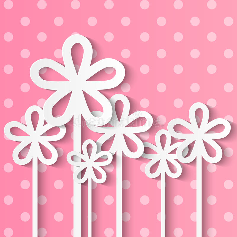 Paper flowers on pink stock illustration