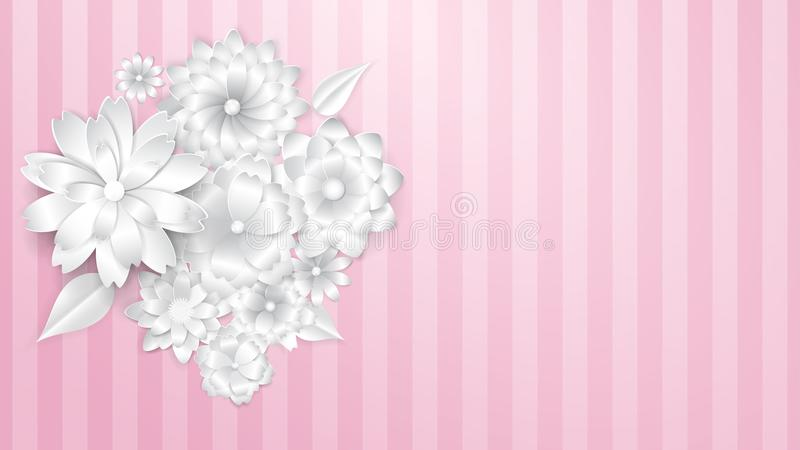 Paper flowers on pink background stock illustration