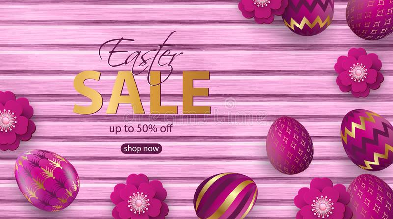 Paper Flowers and realistic pink Easter eggs with golden ornaments on wooden background. Greeting card, sale banner. E Vector vector illustration