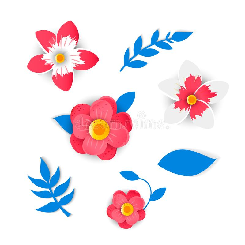 Paper flowers and tropical leaves royalty free illustration