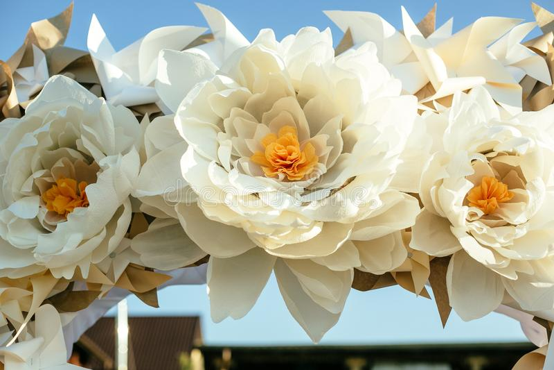Paper flowers in wedding decor luxury wedding decorations for download paper flowers in wedding decor luxury wedding decorations for ceremony wedding arch stock mightylinksfo
