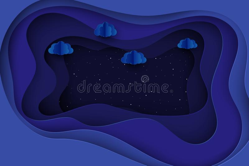 Paper fluffy clouds and shining stars in midnight. Modern 3d origami deep paper art style. Vector illustration, dark night sky vector illustration