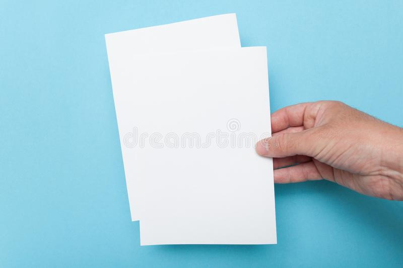 Paper flyer A5 mockup, invitation template.  stock photos