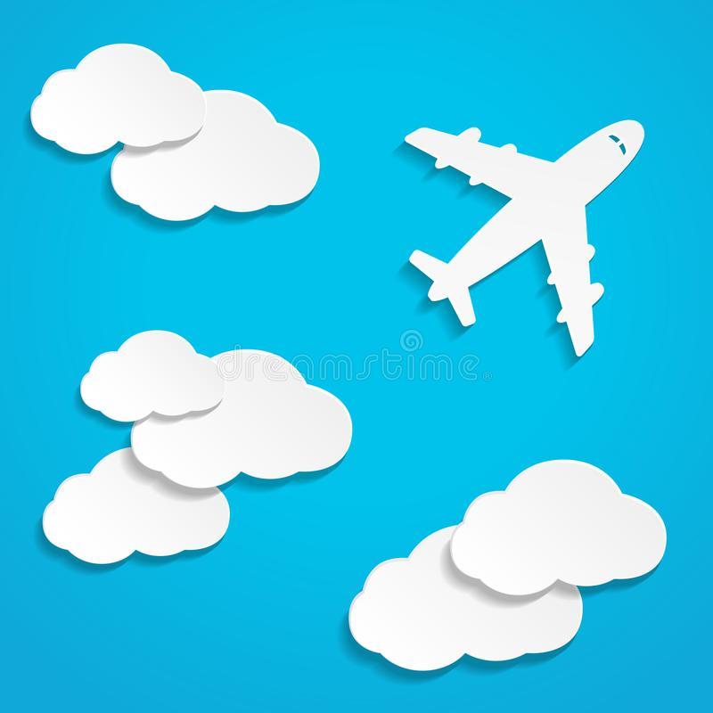 Paper flying plane in clouds vector illustration