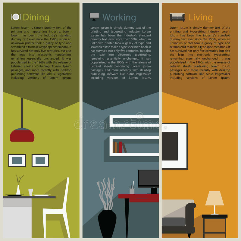 Paper folded for interior decoration concept royalty free illustration