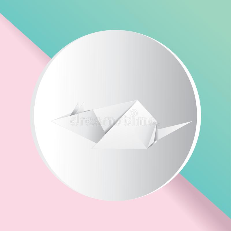 White paper origami mouse. Paper folded white mouse or rat design royalty free illustration