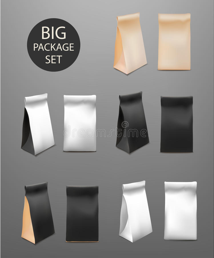 Paper Food Bag Package Big Set For Coffee, Tea, Snacks, Chips, Breakfast,Meal. Mock Up Template Ready For Your Design. Pr royalty free illustration