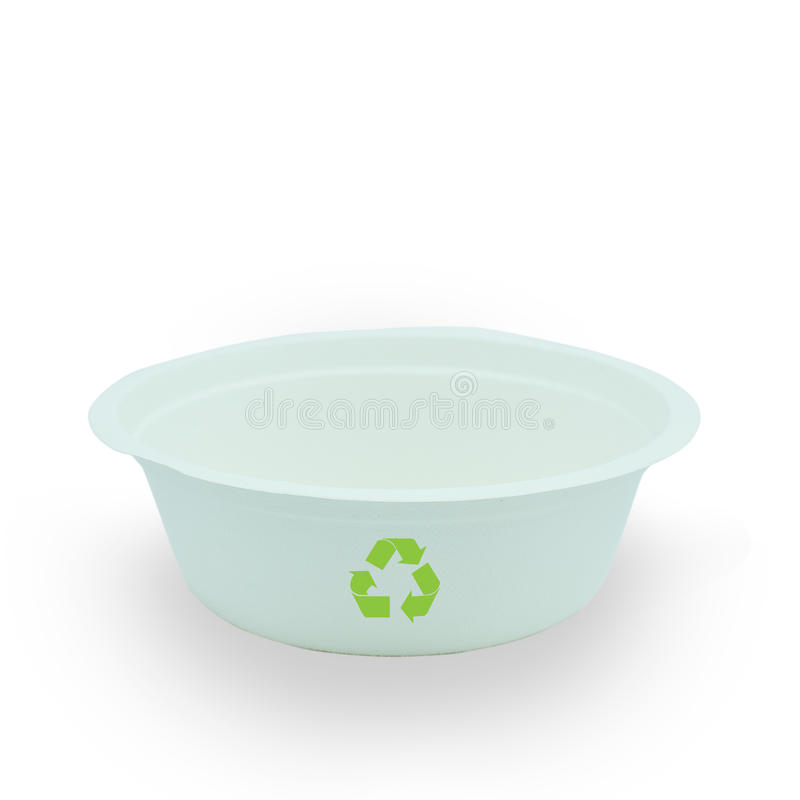 Paper food container. Close up with recycle symbol royalty free stock photography