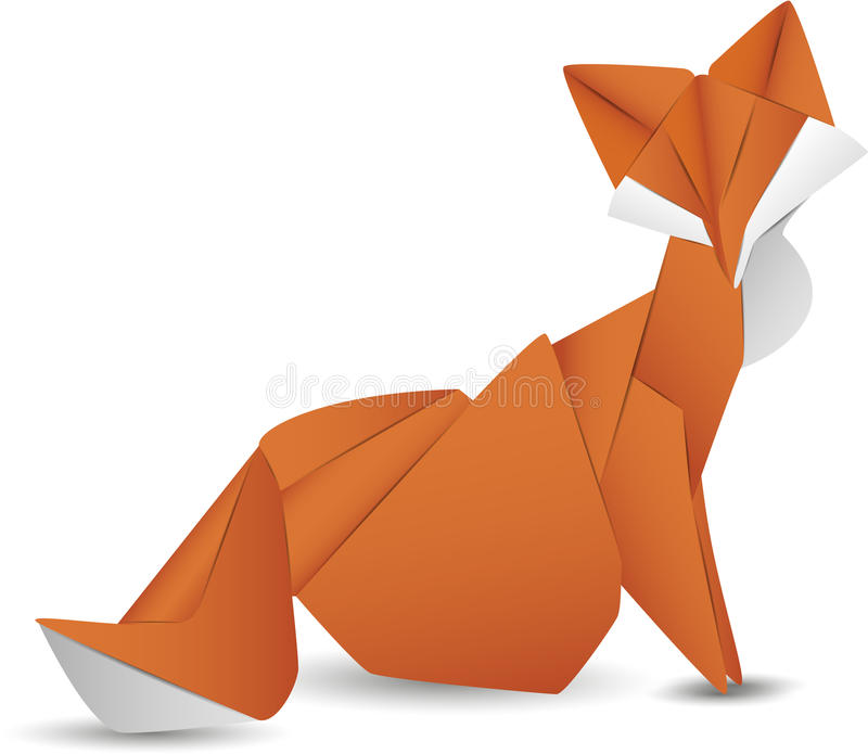 Paper fox isolated vector icon. Paper fox isolated icon. Origami animal object vector illustration vector illustration