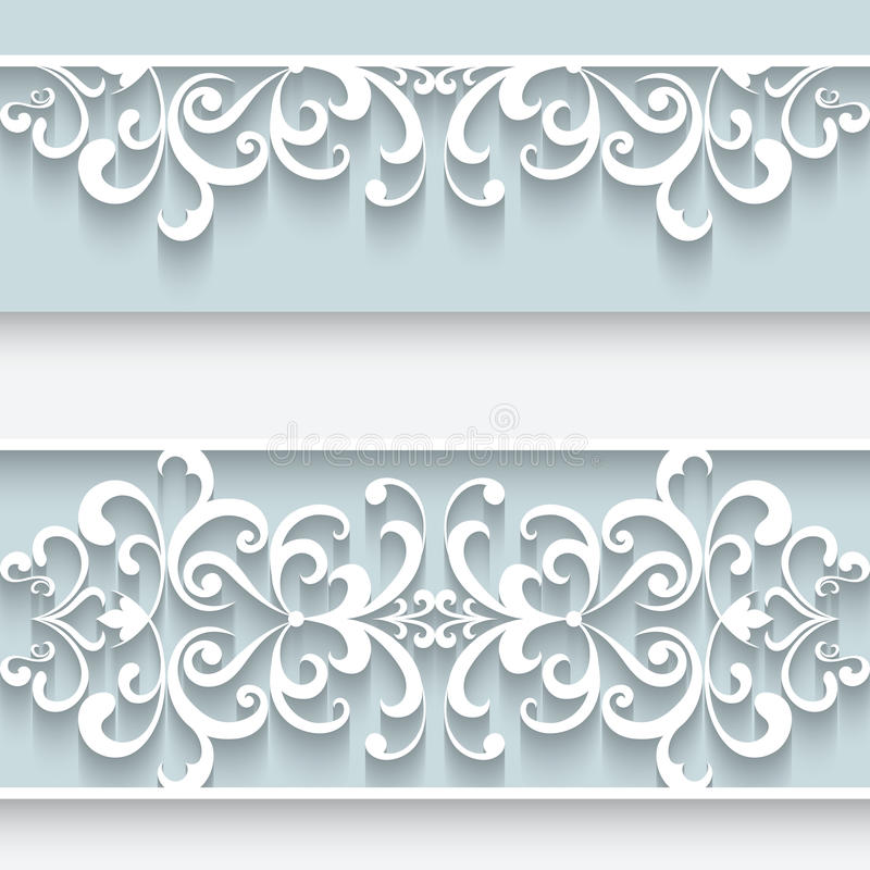 Paper frame with lace borders royalty free illustration