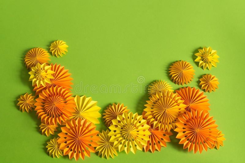 Orange garland of paper on a halloween party. Children`s birthday party. stock photo