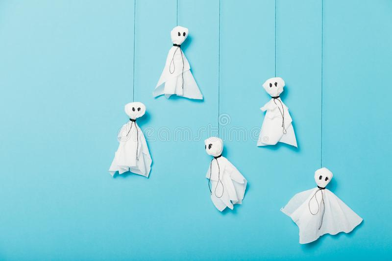 Paper ghosts, scary halloween craft kids concept royalty free stock photos