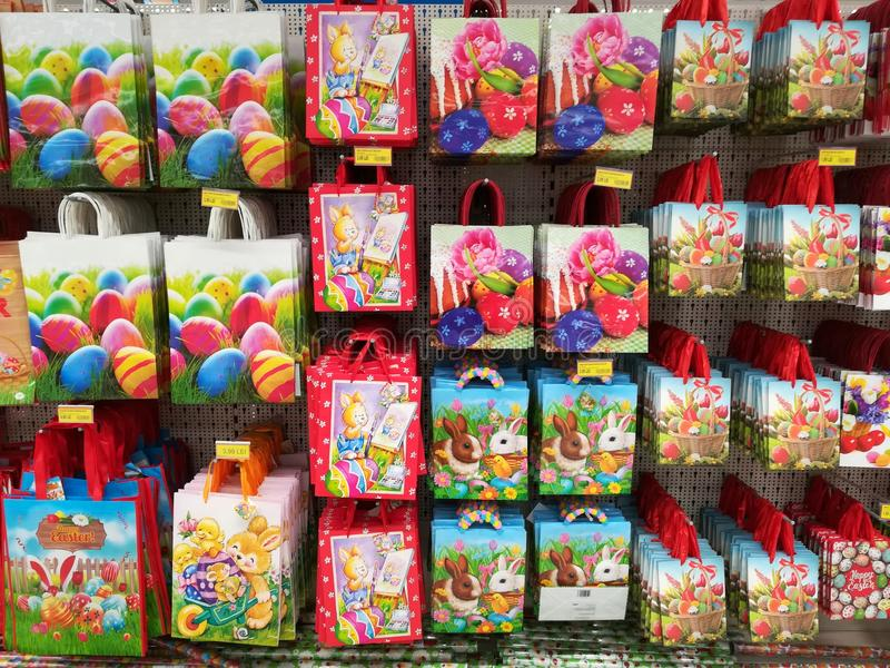 Paper gift bags with patterns for easter holidays editorial download paper gift bags with patterns for easter holidays editorial photography image of happy negle Gallery