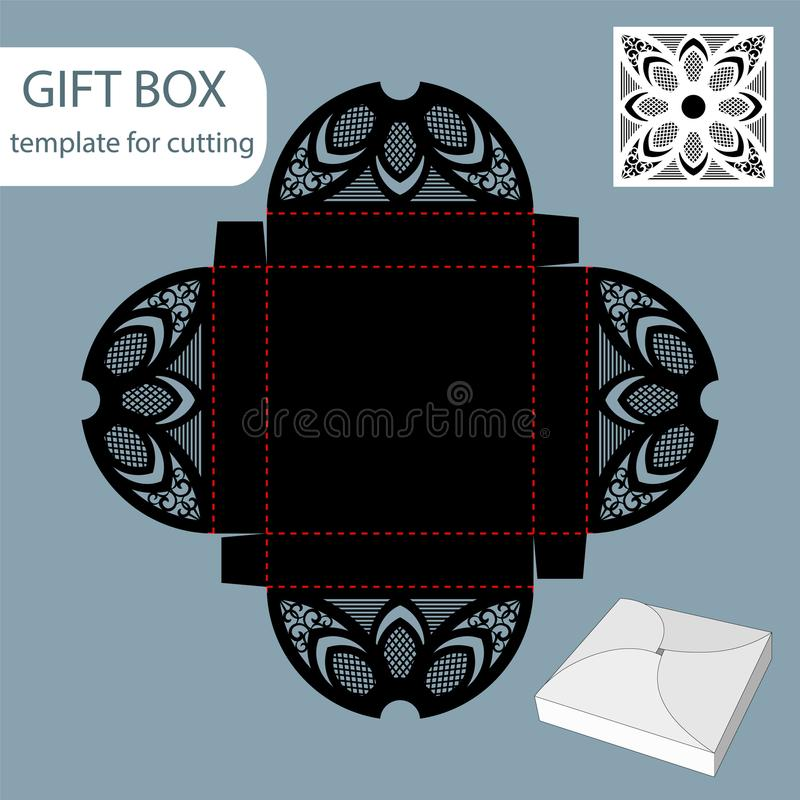 Paper gift box, lace pattern, square bottom, cut out template, packaging for retail, greeting packaging, can be laser cut, royalty free illustration