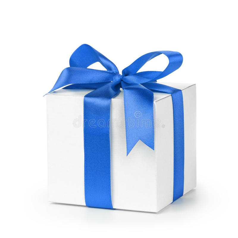 Paper gift box wrapped with blue ribbon stock image