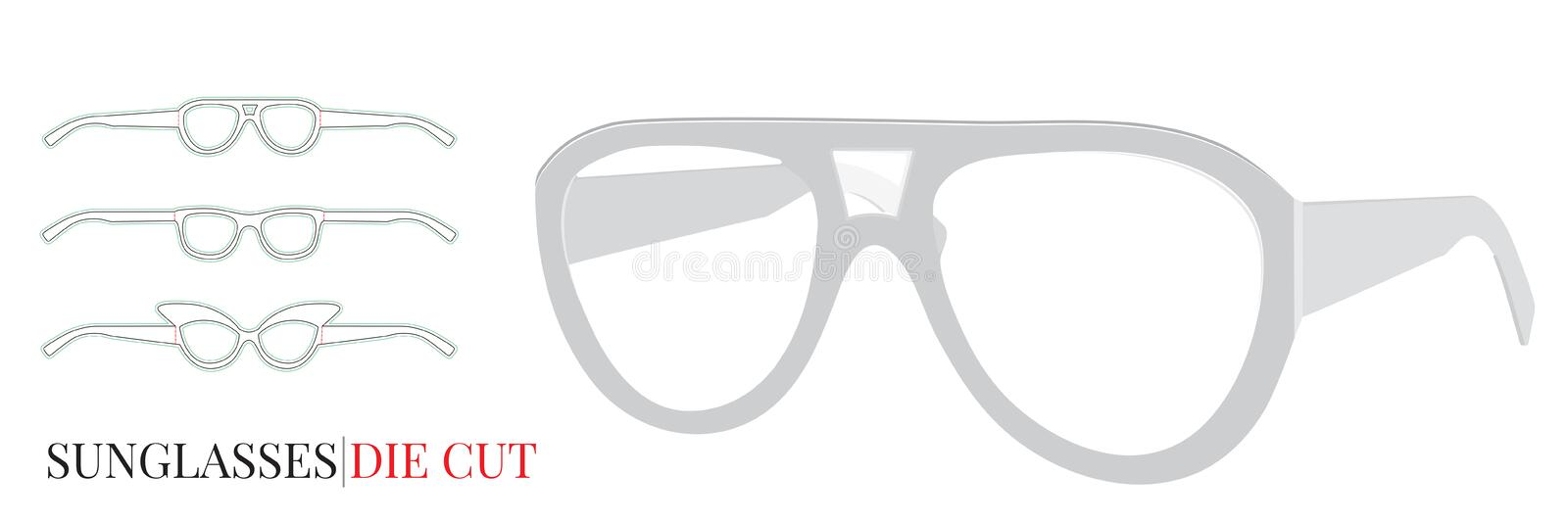 Paper Glasses Template, Vector with die cut / laser cut layers royalty free illustration
