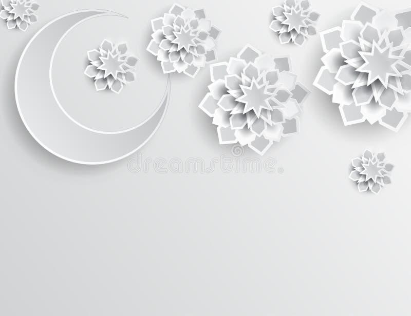 Paper graphic of islamic crescent moon, star shape. Islamic decoration. Ramadan Kareem - glorious month of Muslim year. Modern 3d paper cut concept royalty free illustration