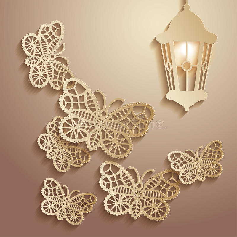 Paper graphics Illustration of lace butterflies flying to the light of a lantern. vector illustration