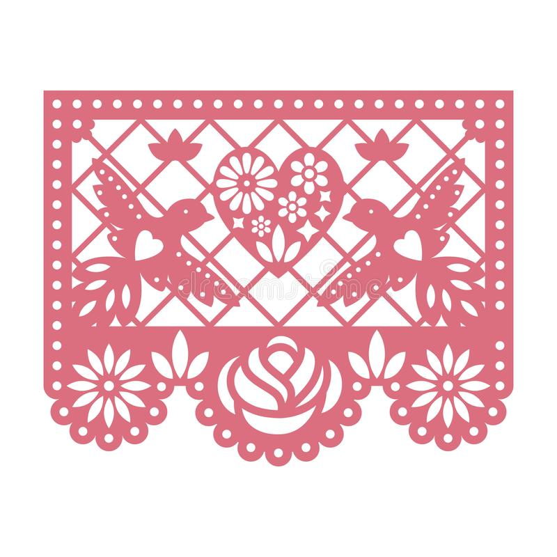 Free Paper Greeting Card With Cut Out Flowers, Doves And Heart. Papel Picado. Royalty Free Stock Photo - 122376485