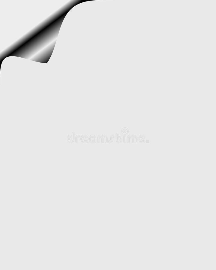 Paper sheet with curl corner. Paper grey sheet with curl corner with copy space for your text stock illustration