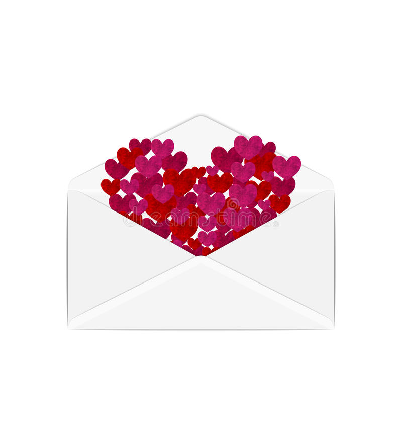 Paper grunge hearts in open white envelope royalty free illustration