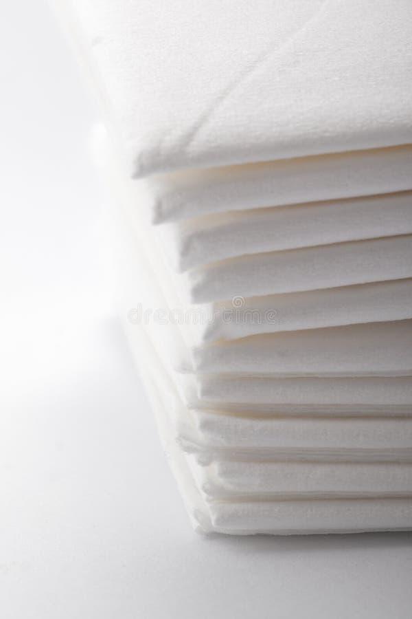 Paper handkerchiefs. Soft fluffy white paper handkerchiefs for flu stock photo
