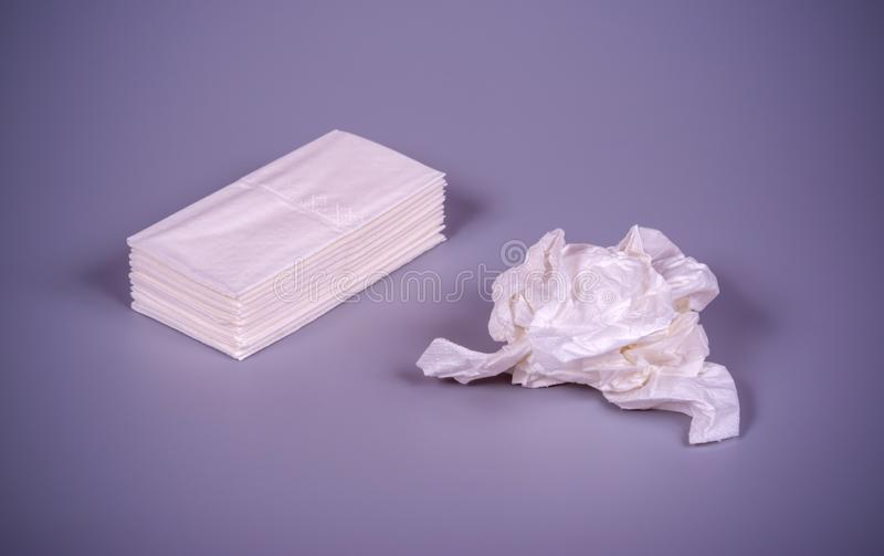 Paper handkerchiefs on a gray background stock images