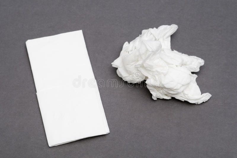 Paper handkerchiefs. New and used royalty free stock photos