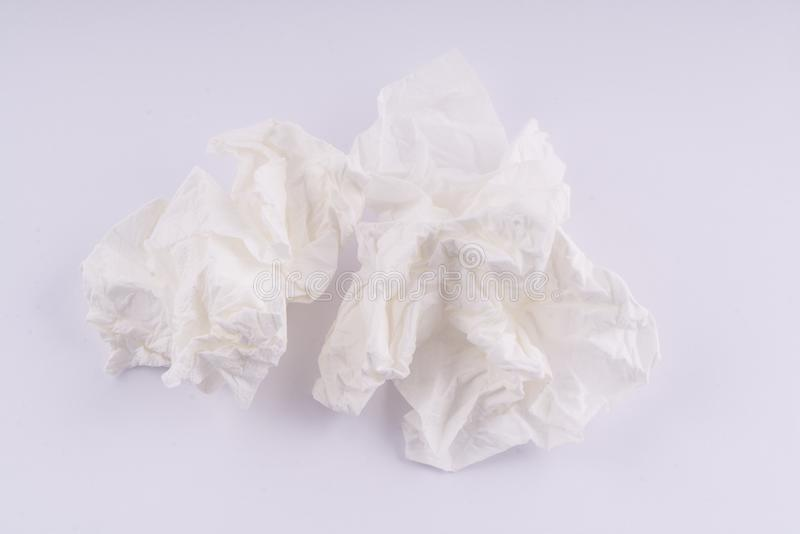 Paper handkerchiefs used. On the table stock photos