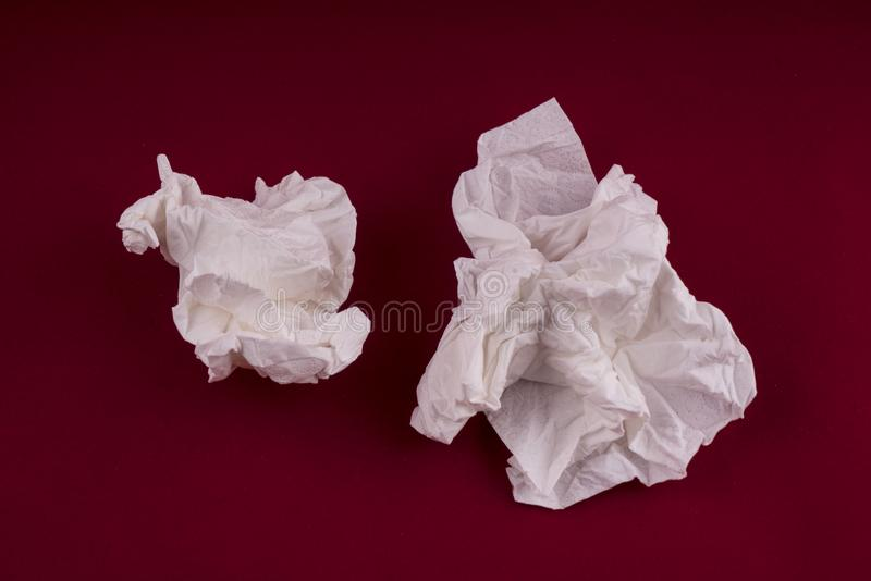 Paper handkerchiefs used. On the table royalty free stock photo