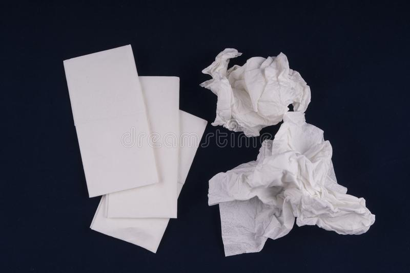 Paper handkerchiefs used. On the table royalty free stock photography