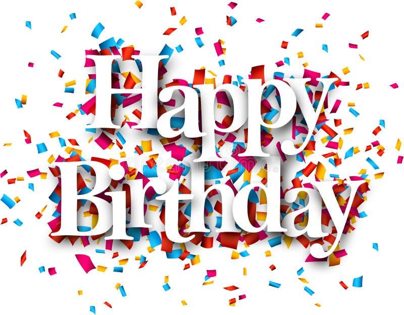 Blue Label Price >> Paper Happy Birthday Confetti Sign. Stock Vector - Image: 45819218