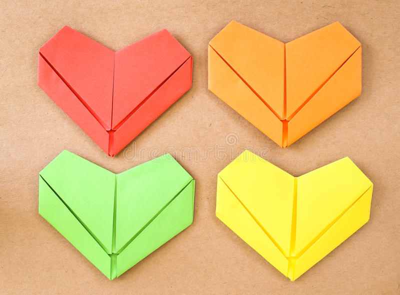 Paper heart collection. Multi-color heart royalty free stock image