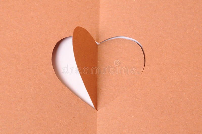 Paper heart. Cutted like hole stock images