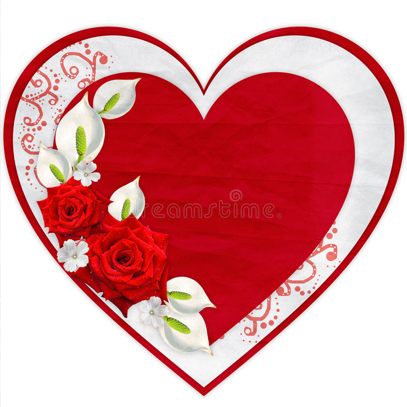 Paper heart with red roses. Isolated on white background stock image