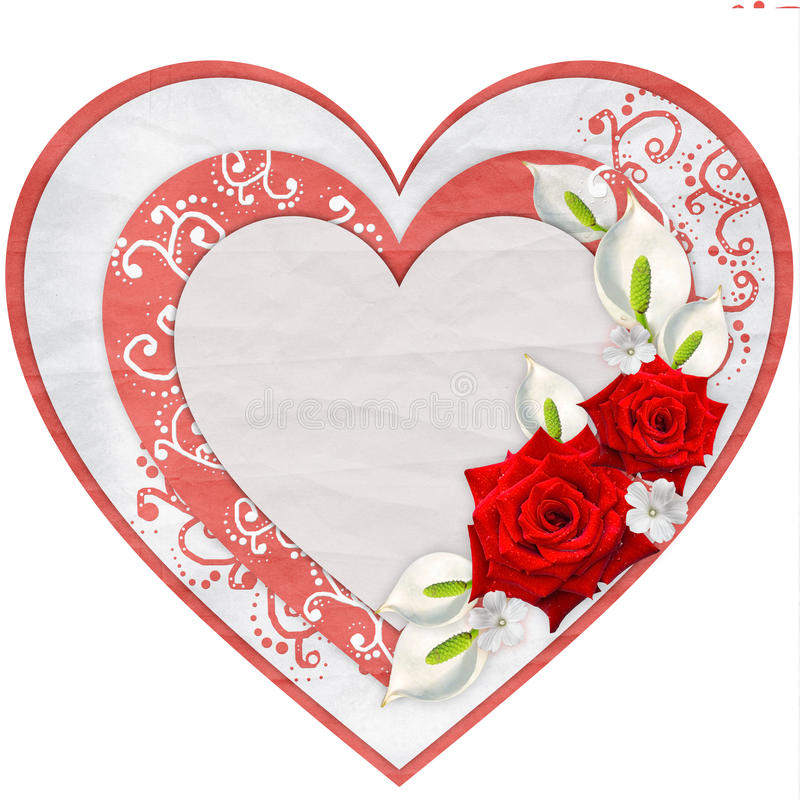 Paper heart with red roses. Isolated on white background royalty free stock image