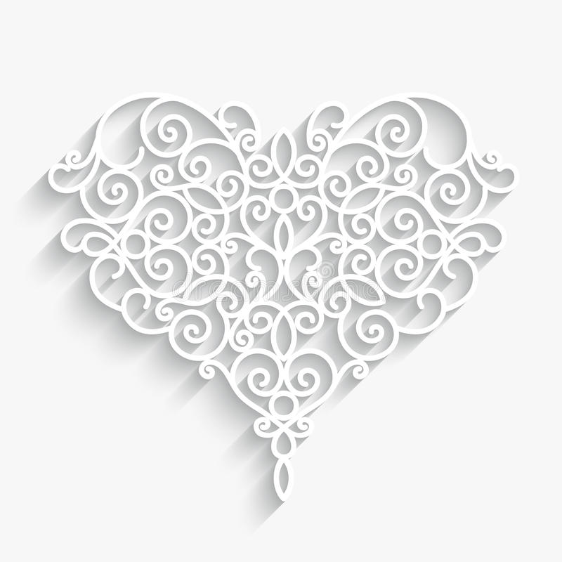 Paper heart on white. Swirly paper heart with shadow on white stock illustration